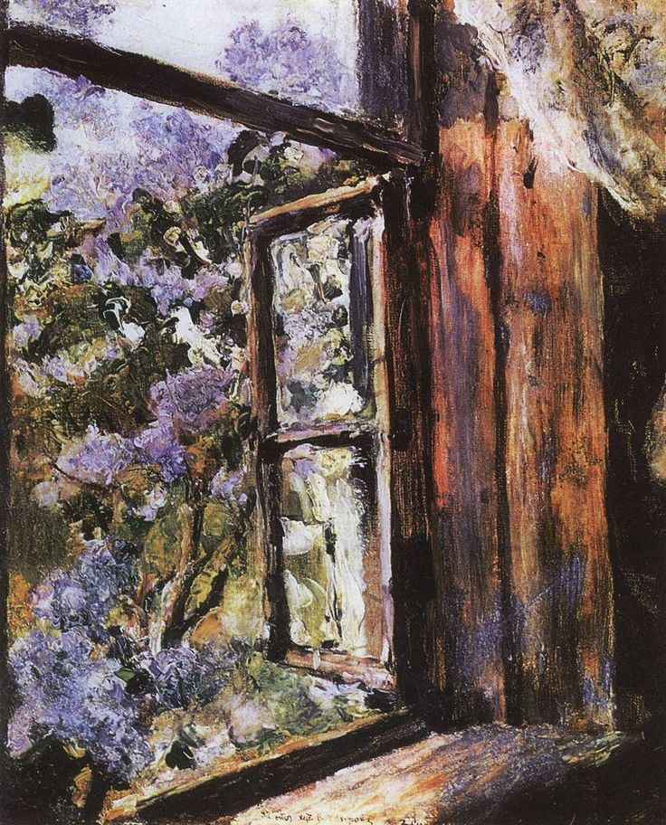 """""""I am thinking of the lilac-trees, that shook their purple plumes, and when the sash was open, shed fragrance through the room."""" - Mrs. Anna S. Stephens, The Old Apple-Tree (Open Window. Lilacs - Valentin Serov, 1886)"""