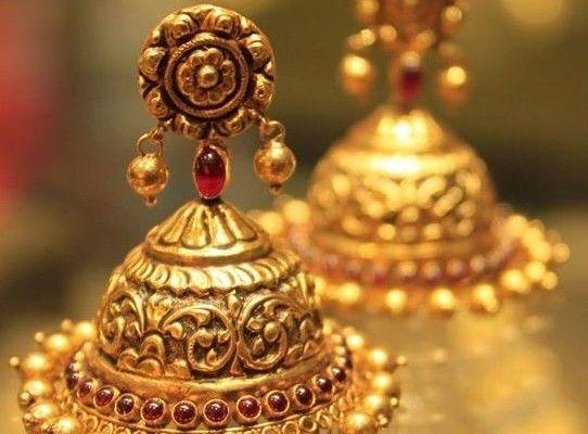 Gold Earrings Buttalu Temple Jewelry