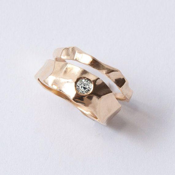 Wedding Ring Set  14K Gold and Diamond engagement by doronmerav, $850.00