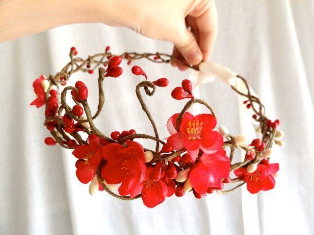 red wedding flower headpiece, pink cherry blossom, red flower hair accessory - GALWAY GIRL - flower girl accessory, bridal head wreath