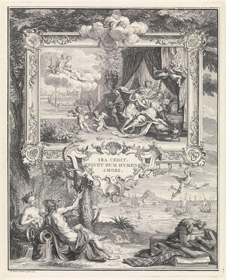 Bernard Picart | Allegorische voorstelling ter gelegenheid van het huwelijk van David Leeuw van Lennep en Hester Barnaart, Bernard Picart, 1723 | Allegorische voorstelling ter gelegenheid van het huwelijk van David Leeuw van Lennep en Hester Barnaart te Haarlem op 25 mei 1723. De echtgenoot wordt door Hymen naar het huwelijksbed gebracht, waar zij hem licht afweert. Juno, als beschermster van de vrouwen, en Venus, als godin van de liefde, zitten boven op een wolk. De voorstelling is gevat in…