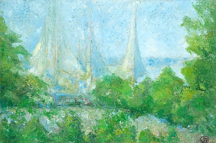 Sigrid Schauman 1877-1979 Sails in a green...
