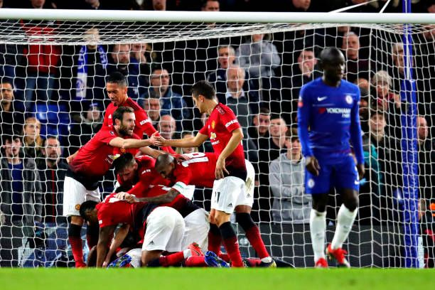 The Manchester United Team Celebrates Their Second Goal During The Fa Manchester United Team Manchester United Chelsea Manager