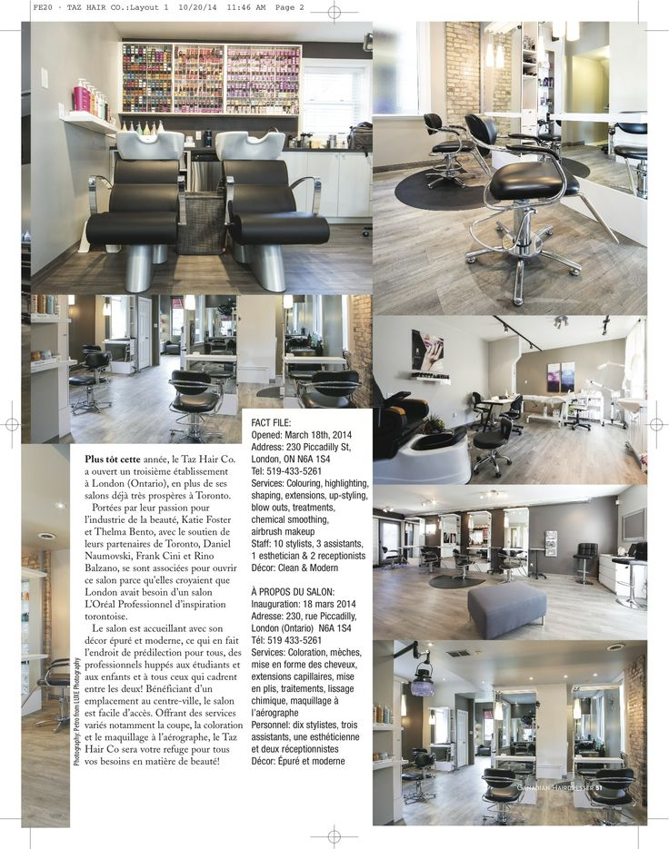 Taz Hair Co. London in Canadian Hairdresser Magazine Page 2