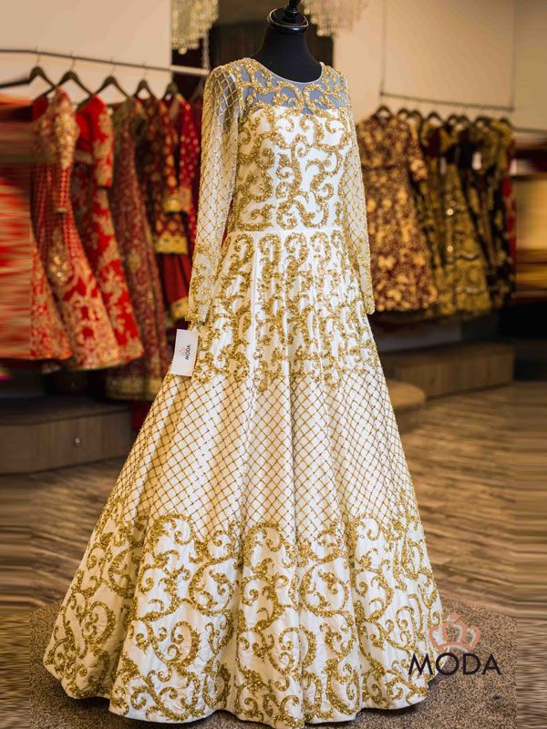 White A-line long gown dress with heavy golden hand embroidery for Indian and Srilankan brides