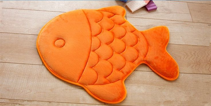Hughapy® Slow Rebound Memory Foam Children Bath Rug Christmas Fish Slip Resistant Coral Fleece Mat Doormat Carpet (Orange) ** New offers awaiting you  : Nursery Decor