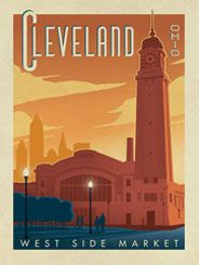 Cleveland, Ohio - This stylish print of Cleveland's West Side Market is sure to brighten any home or office wall. Celebrate the Cleveland's historic charm by decorating with this classic design.