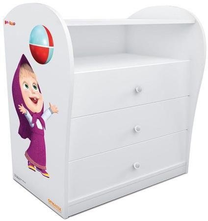 Комод «Маша и медведи» для девочек  — 16350р. ------------------ Комод для детской комнаты. Комплект прекрасно дополнят и другие предметы мебели для спальни из одноименной серии. Комод выполнен из ЛДСП, а его боковины украшены изображением Миши, героя популярного мультфильма. Специальная система направляющих с доводчиками предотвращает резкое шумное закрывание ящиков и делает использование мебели еще более комфортным.Реальный цвет может отличаться от представленного на сайте, ввиду различных…