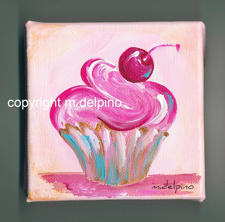 Pink cupcake oil painting 4 x 4 canvas cottage chic kitchen bakery cute little cupcake pink blue brown. $20.00, via Etsy.