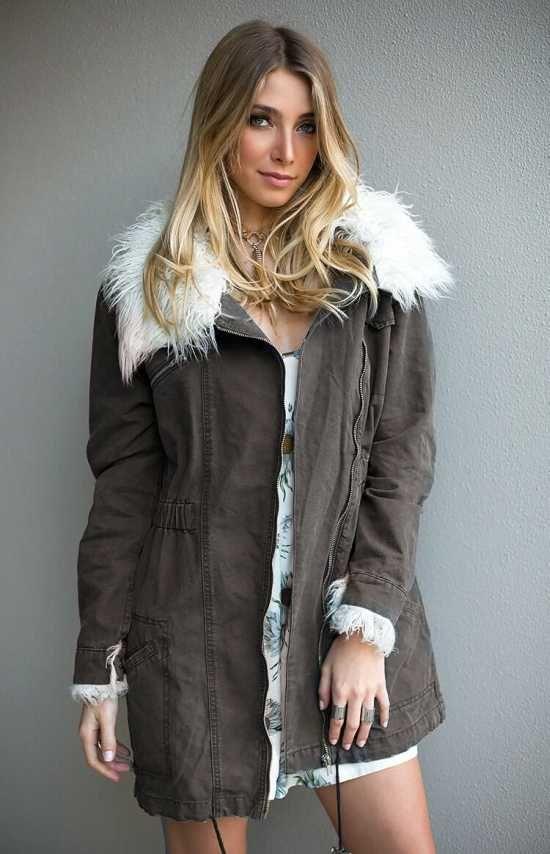 Khaki Hooded Parka Womens - $149.00- Womens Coats - Australia ...