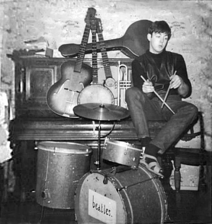 http://paulmccartneyonline.blogspot.com -   Paul had early ambitions to replace Pete Best, but even John was too tactful to explain that his avant-garde playing technique left a lot to be desired...