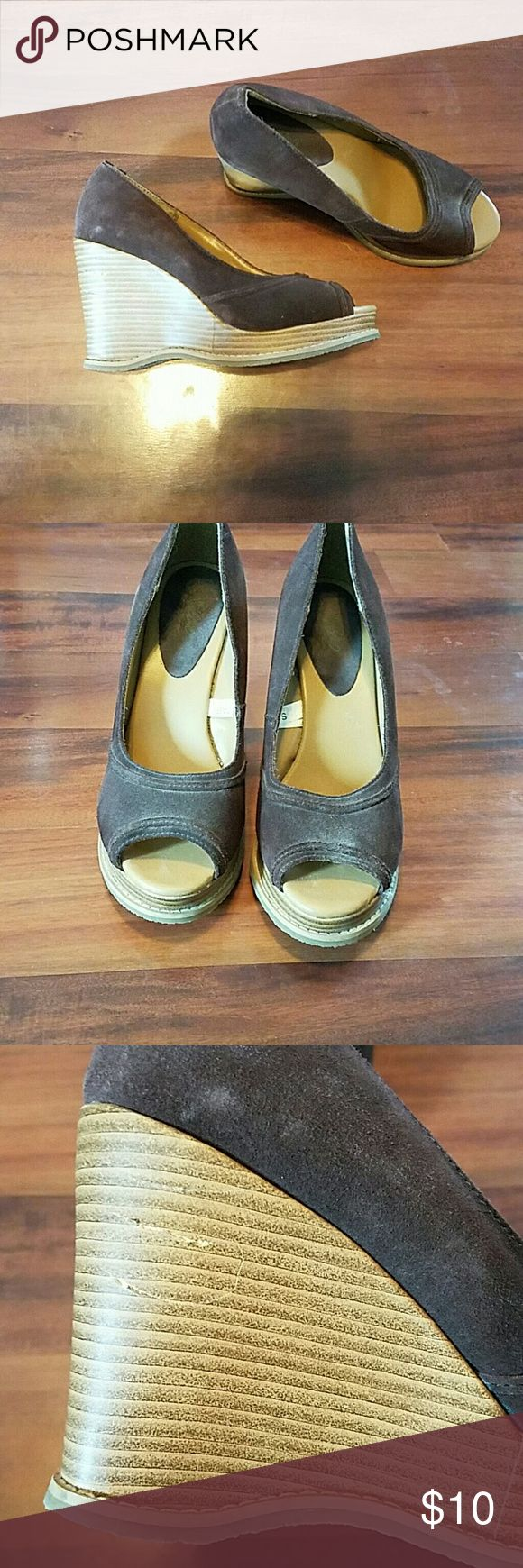 Peep toe wedges Dark brown suade type peep toes. Wedge is about 3.5 or 4 inch. Worn twice. Shoes Wedges
