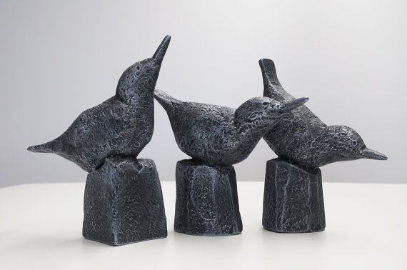 Black Bird Figurines White Bird Figurines Decorative by BirdMaker