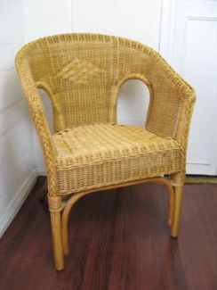 $50 Vintage CANE CHAIR Wicker Armchair 54x54x79cm Text 0411691171 or email info@bitspencer.com