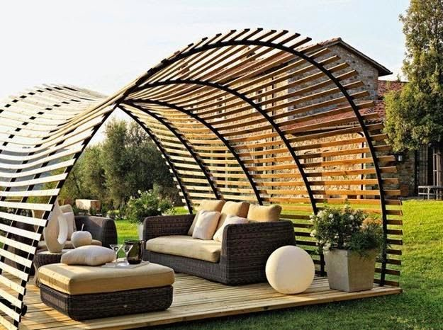 Long-term solution for sunshade, beautiful wooden structure and stone patio ideas.