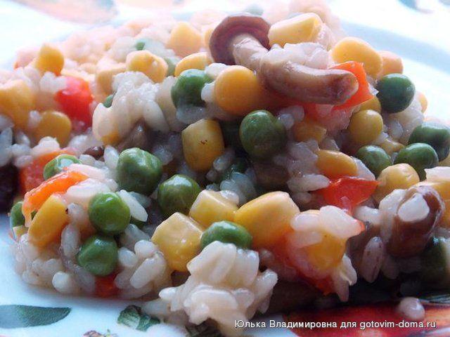Овощи с рисом (быстрый гарнир или полноценное постное блюдо)