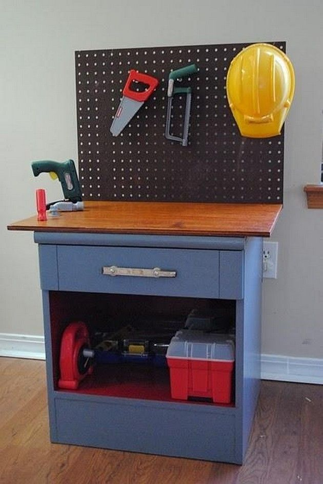 Repurposed end table made into a kid's tool bench.  Brilliant.