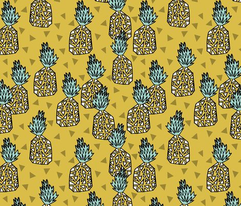 pineapple // geo geometric hand-drawn sweet golden yellow tropical hawaii exotic fruit fruits sweet summer fabric by andrea_lauren on Spoonflower - custom fabric