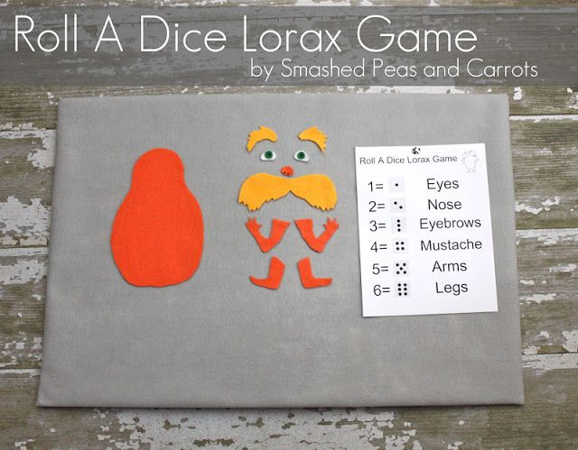 Roll A Dice Lorax Game - Smashed Peas & Carrots - Students must roll specific numbers on a die in order to add pieces to the Lorax body.  Complete directions on site.