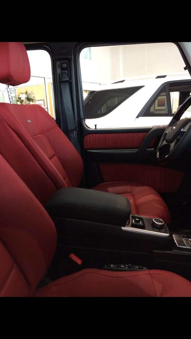 Red leather interior of a Mercedes G wagon