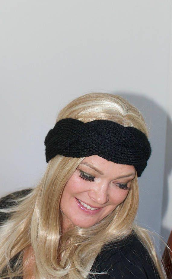 Braided Headband Braided Ear Warmer Crochet Headband Knit Head wrap Braided Earwarmer CHOOSE COLOR Black Headband Christmas Gift under 20   – Products