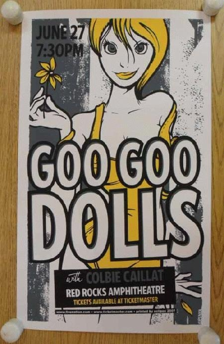 Original silkscreen concert poster for The Goo Goo Dolls at Red Rocks in Denver, CO in 2007. 11.75 x 20 inches on card stock.