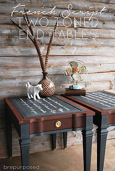 how to chalkboard french script end tables, chalkboard paint, diy, painted furniture, woodworking projects