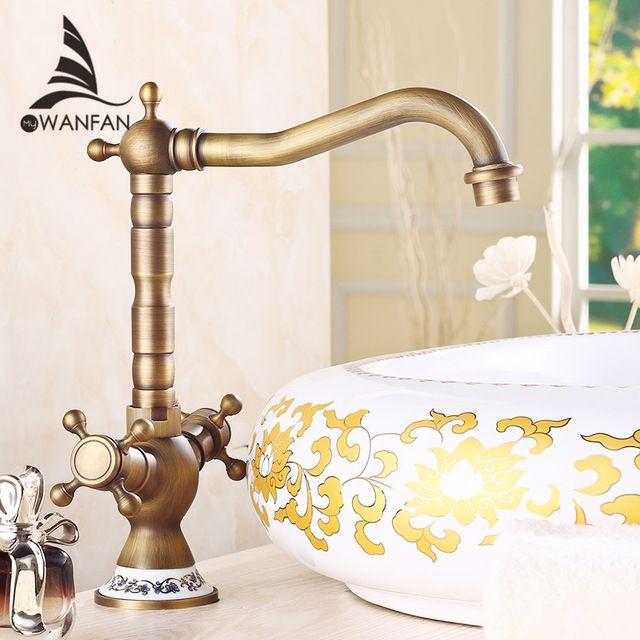 Free shipping Antique Bronze Finish 360 Degree Swivel Brass Faucet Bathroom Basin Sink Mixer Bath& kitchen taps Faucet H-15