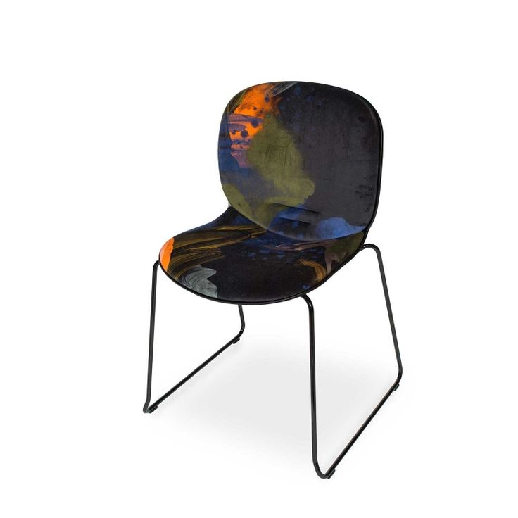 RBM Noor chair x English Rose in Midnight |Sledge by Reeta Ek | FEATHR™    Featuring a bold and contemporary designer fabric by Reeta Ek. Layered brushstrokes interact, creating a work of depth, intrigue and dramatic, raw emotion.  The movement of the artist's brush is retained in the paint that forms this stunning fabric.