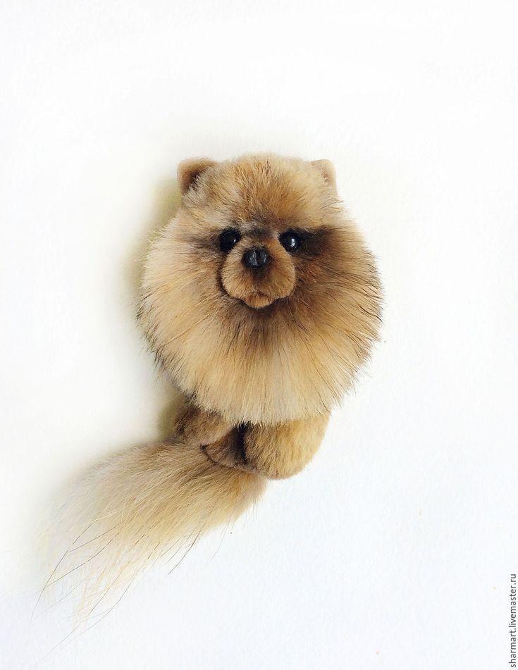 Купить Брошь собачка шпиц - комбинированный, шпиц, брошь собака, купить подарок девушке