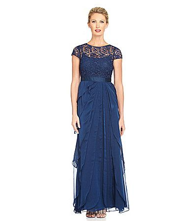 Adrianna Papell Lace Bodice Flutter Gown #Dillards