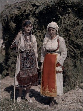Sisters at Delphic Festival Wear Costumes with Fabric from Desphina National Geographic's Greece in Color from the 1920s Photographer: Maynard Owen Williams in the 1920s