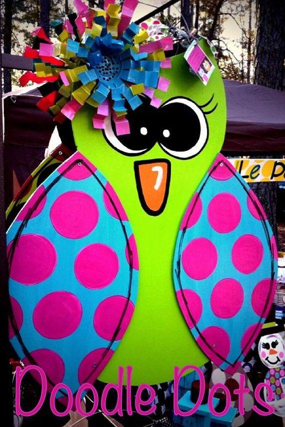 Hoot Owl with Wings Door Hanger by DoOdLeDotsAnDmOre on Etsy, $30.00