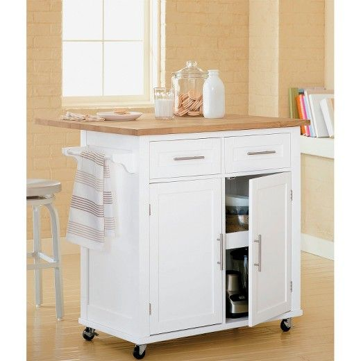 Both handy and modern, the Threshold™ Kitchen Island is a dream come true for those with limited space. This cute, functional piece of home furniture is easily rolled out of the way to make room for guests or alternately, used as a gathering spot, mini-table or cooking surface. Featuring a sturdy wood composite and hardwood frame, an easy-to-clean laminate surface, locking casters and a smooth painted finish with metal fixture detailing.