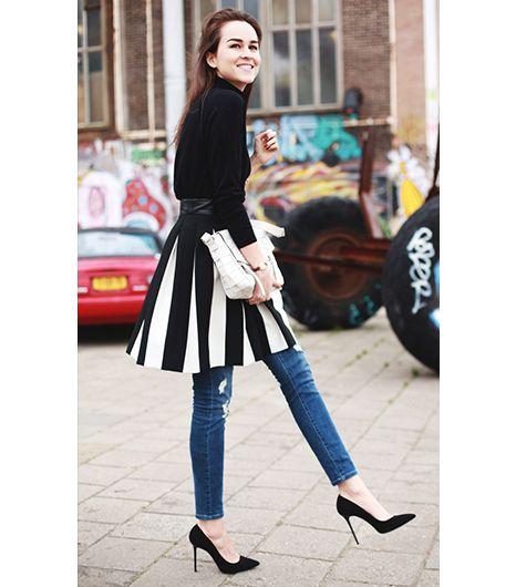 Jeans under skirt