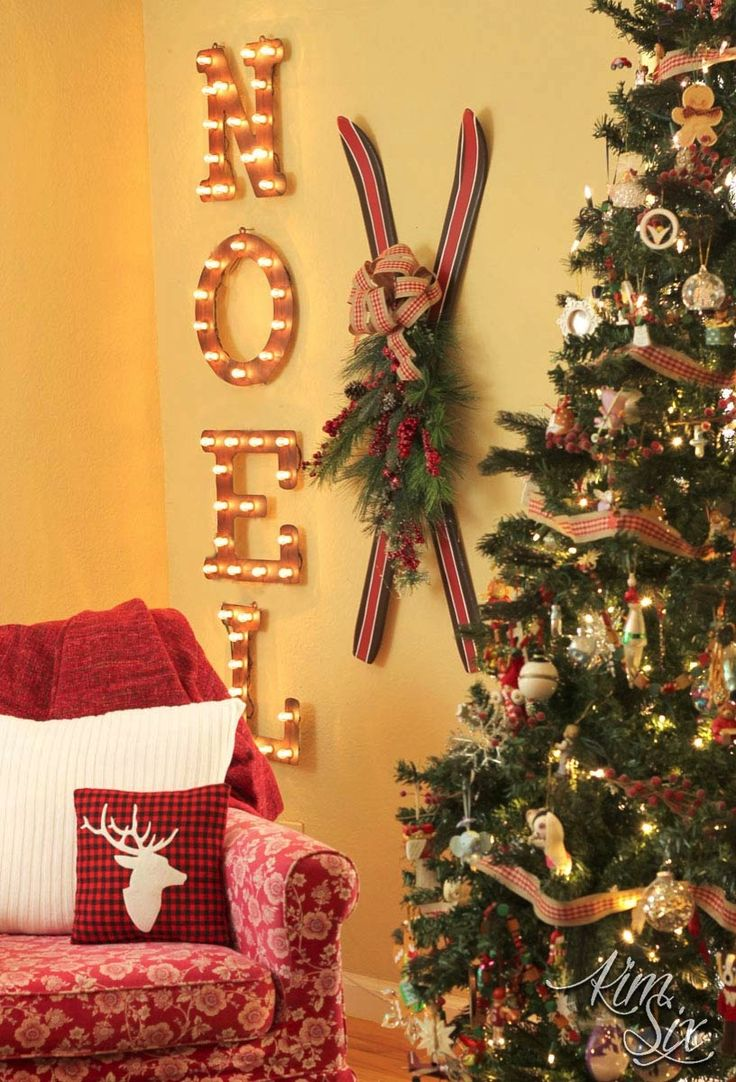 Painted Thrift Store Ski Makeover Christmas MantelsBurlap