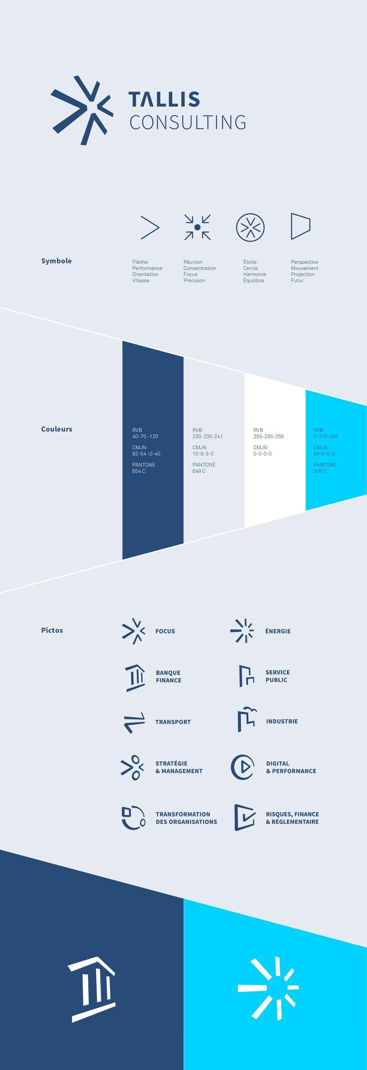 Tallis Consulting, provocateur de performance. Refonte de l'identité visuelle d'un cabinet de conseil en stratégie, organisation et management. Logo, charte graphique...