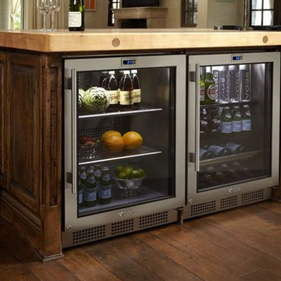 Cool idea for a custom home design/kitchen remodel: 2 undercounter refrigerators...use instead of standard  size