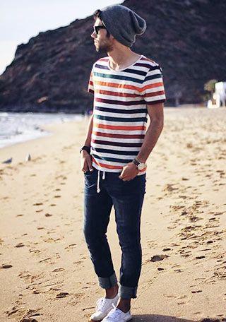ニットキャップ×Tシャツの着こなし(メンズ) | Italy Web