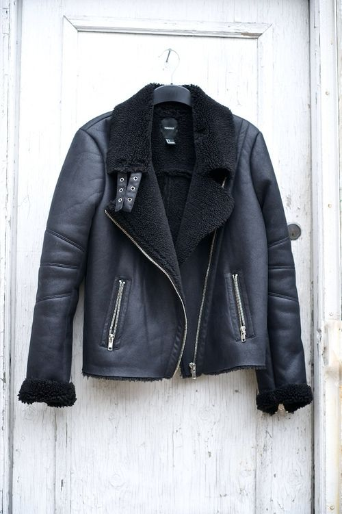 TheyAllHateUs leather & black shearling moto jacket