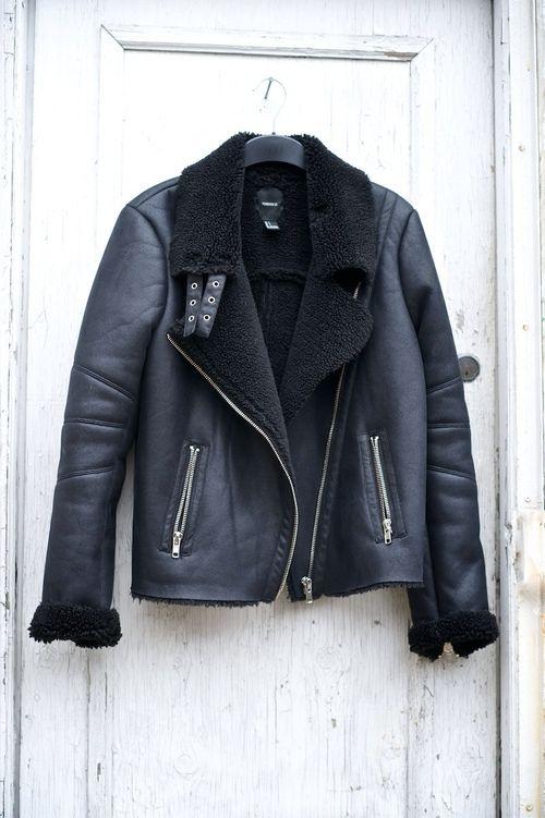 TheyAllHateUs leather & black shearling moto jacket