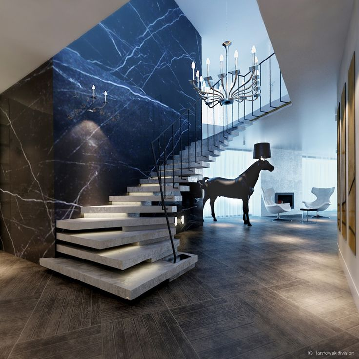 """Project of a hall in private house designed as """"Sit"""" Grupa Projektowa."""