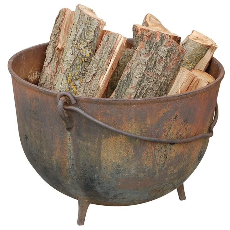 Patinated Iron Cauldron Firewood Holder