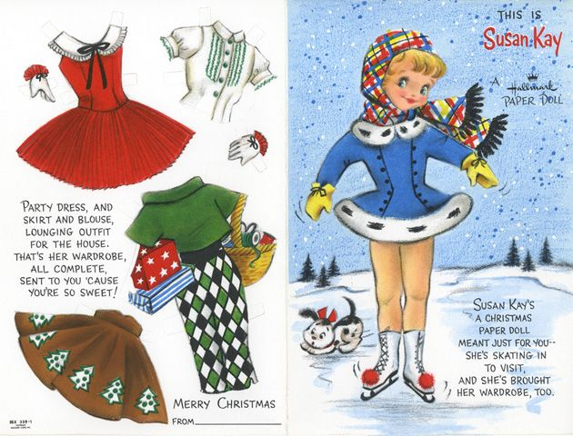 Printable Christmas Paper doll card--Aunt Meme sent these in the mail addressed to ME! Mail....how exciting it was to get mail!