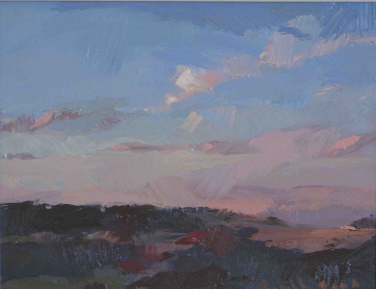 www.trinitypaintbox.com. Coondle Evening Revisited, Oil on Canvas 29 × 22cm by artist Bob Booth