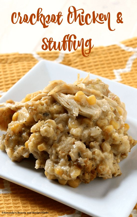 This Crockpot Chicken & Stuffing tastes like Thanksgiving came early! The stuffing melts in your mouth and the moist, tender chicken just falls apart. Yum!