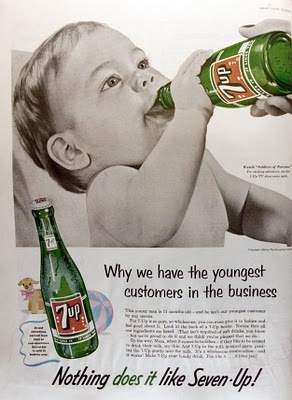"""1950's 7-Up ad urging mothers to substitute milk & formula for their """"nutrient packed"""" beverage! Wowzer."""