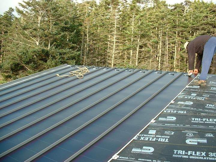 Solar Roof Panels - Standing Seam Metal Roof can easily be integrated with solar roof panels that convert solar energy into electricity, which provides free energy for your home. This can be a great element of sustainable building design.