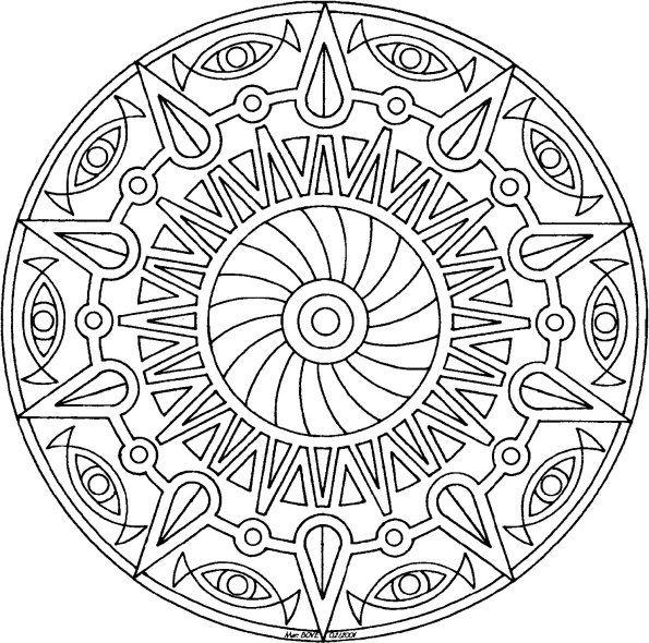 Sun Pinwheel Mandala free coloring