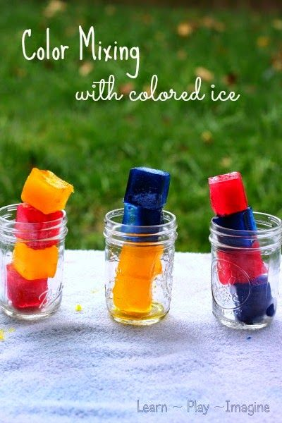 Hands on color theory demonstration for kids with colored ice